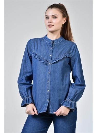 Rodi Jeans Kadın Denim Yaka Fırfırlı Gömlek DS21YB033799 Mavi